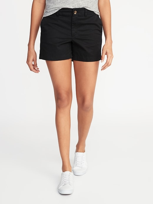 Mid-Rise Twill Everyday Shorts for Women - 5-inch inseam