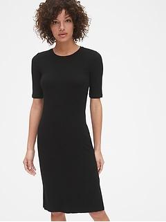 Ribbed Short Sleeve Midi T-Shirt Dress 14cca352d