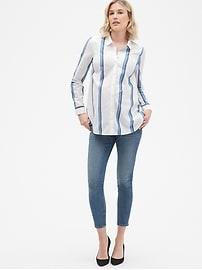 Maternity Tailored Stripe Shirt in Poplin