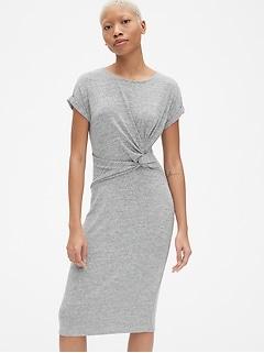 9ee3b20768 Softspun Short Sleeve Twist-Knot Midi Dress
