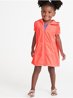 664b928b9ef Loop-Terry Hooded Zip Front Swim Cover-Up for Toddler Girls