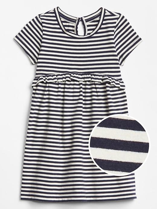 Toddler Print Short Sleeve Ruffle Dress