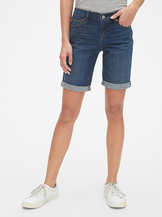 "Mid Rise 9"" Denim Bermuda Shorts"