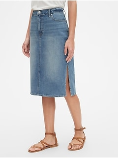 71db8ff8f High Rise Denim Midi Skirt