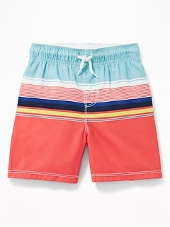 449a6a6eda Functional Drawstring Multi-Stripe Swim Trunks for Toddler Boys