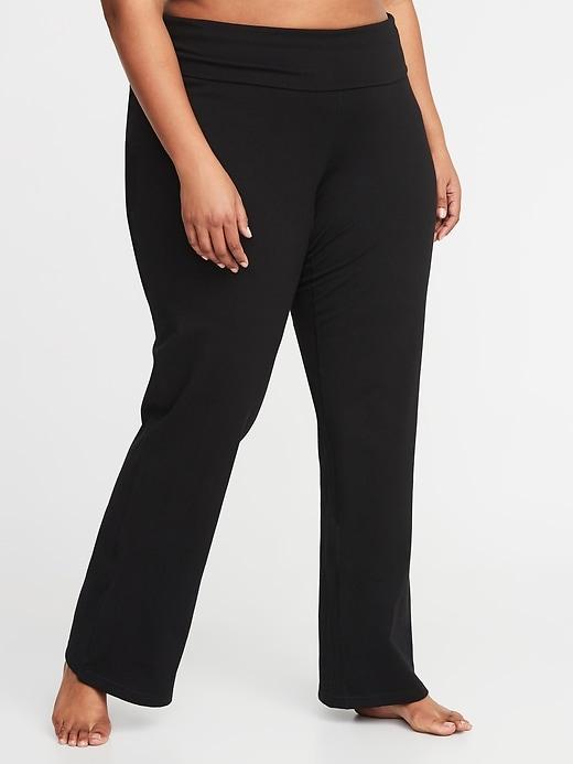Pantalon de yoga à replier à jambe large, taillePlus