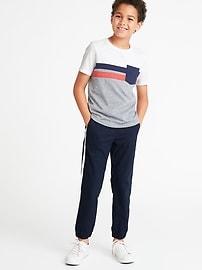 Color-Blocked Chest-Stripe Pocket Tee for Boys