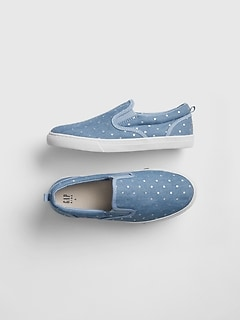 1edef378ae30 FLASH DEAL! 50% OFF AT CHECKOUT. Kids Sparkle-Dot Chambray Sneakers