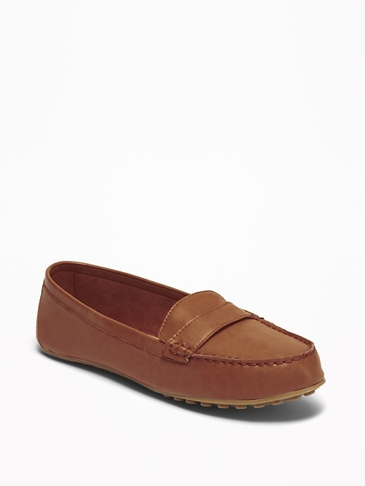 Faux-Leather Driving Moccasins for Women