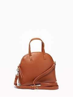 Faux-Leather Dome-Shaped Satchel for Women 766e99b75516b