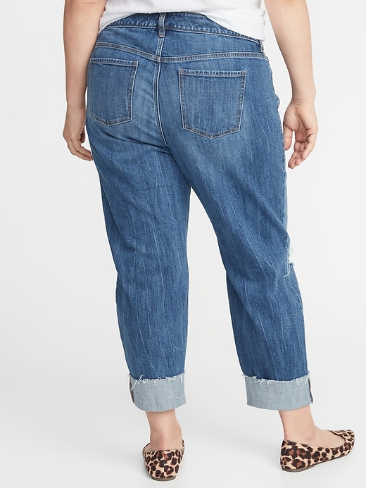Mid-Rise Plus-Size Boyfriend Straight Distressed Jeans
