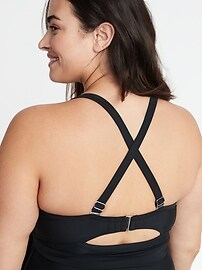 Wrap-Front Secret-Slim Plus-Size Swim Dress