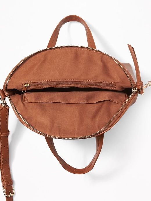 Faux-Leather Dome-Shaped Satchel for Women
