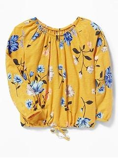7a386343e31ea7 Slub-Knit Off-the-Shoulder Tie-Hem Top for Girls