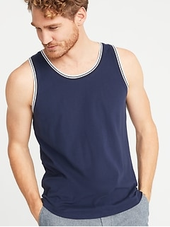 3794e821d726d4 Soft-Washed Tipped Jersey Tank for Men