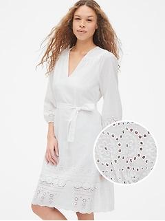 Eyelet Embroidered Long Sleeve V-Neck Midi Dress d601f8532