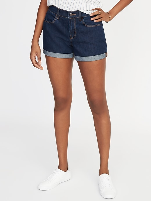 Mid-Rise Cuffed Jean Shorts For Women - 3-Inch Inseam
