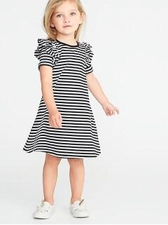 e53844b7239b Ruffled-Shoulder A-Line Tee Dress for Toddler Girls