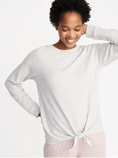 d99d6391c6 Relaxed French-Terry Tie-Front Sweatshirt for Women