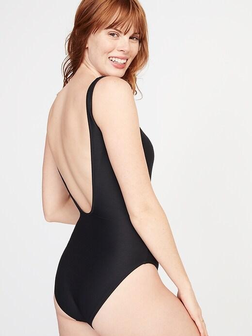 Textured Scoop-Back Swimsuit for Women