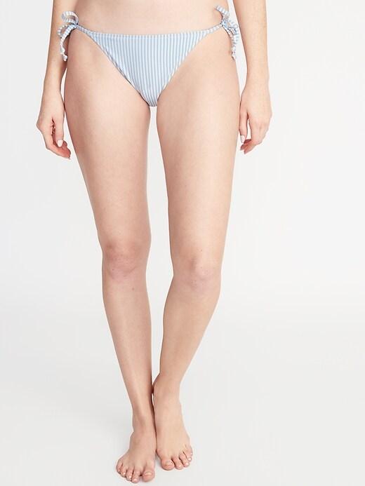 Seersucker-Stripe String Bikini Bottoms for Women