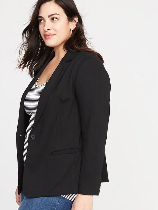 Classic Ponte-Knit Plus-Size Blazer