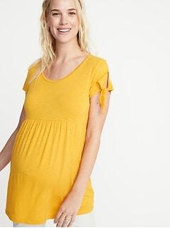 eb1c7ecc5b139 Maternity Slub-Knit Tie-Sleeve Peplum-Hem Tunic