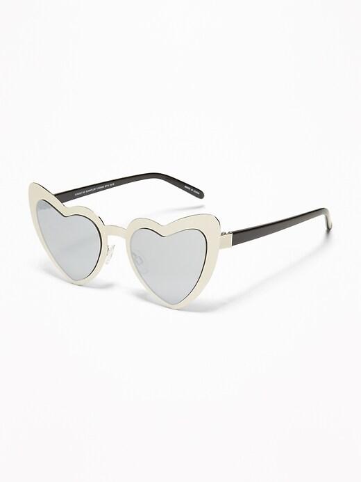 Heart-Shaped Metal Sunglasses for Girls