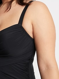 Wrap-Front Secret-Slim Underwire Plus-Size One-Piece Swimsuit