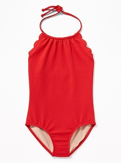 a207dc82fa2c0 Textured Scalloped-Edge Halter Swimsuit for Girls