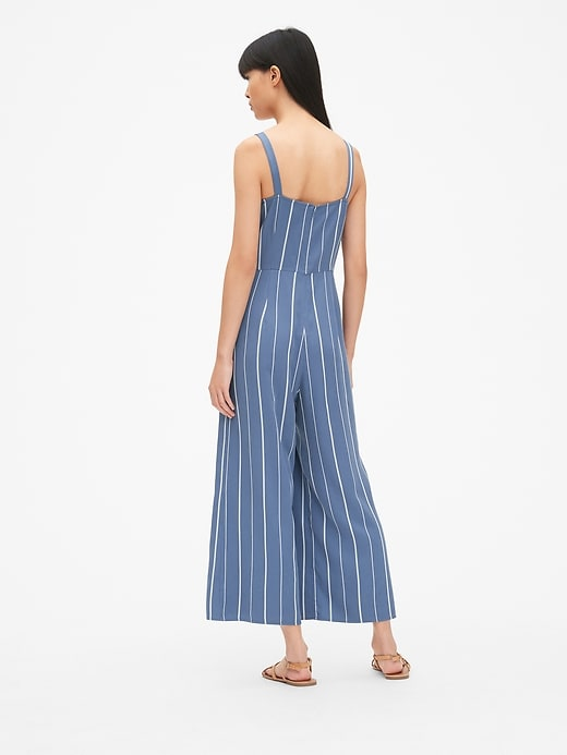 Stripe Apron Wide-Leg Jumpsuit