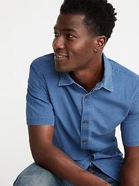 Slim-Fit Indigo Dobby Micro-Pattern Shirt for Men