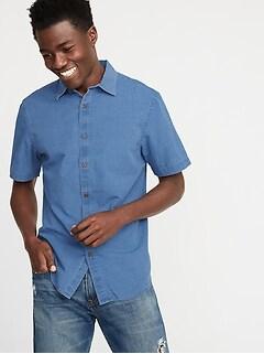 02f5cdbf6a865 Slim-Fit Indigo Dobby Micro-Pattern Shirt for Men