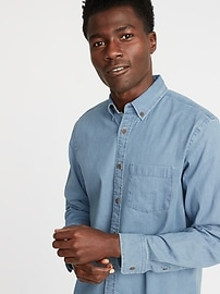 Regular-Fit Built-In Flex Chambray Everyday Shirt for Men
