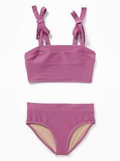 0999e049f87eb Textured Tie-Shoulder Tankini Swim Set for Girls