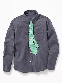 a47e23e4b7cc0 Built-In Flex Dress Shirt   Tie Set for Boys