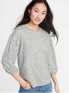 Relaxed Balloon-Sleeve French-Terry Top for Women d5ea373b4ee