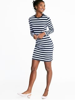 Fitted Striped Jersey Shift Dress for Women 176544b0d