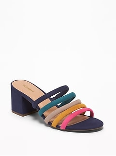 072e13c7238 Strappy Sueded Block-Heel Mules for Women