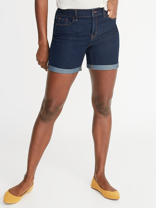 Mid-Rise Slim Jean Shorts For Women - 5-Inch Inseam