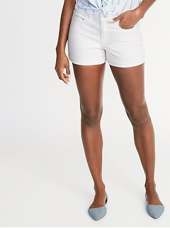 b67639e2923 Mid-Rise White Denim Shorts for Women - 3-inch inseam