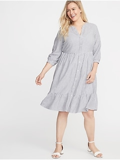441f25604d Waist-Defined Plus-Size Striped No-Peek Shirt Dress