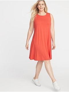 Sleeveless Plus-Size Jersey Swing Dress 821896d21