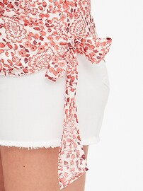 Maternity Long Sleeve Wrap Top in Linen