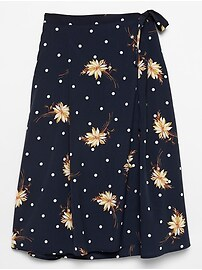 Floral Dot Print Tie Waist Wrap Pleated Midi Skirt