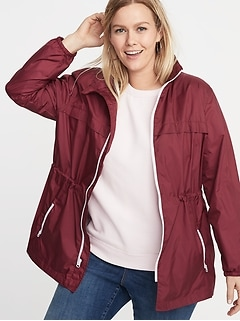 3f26048d4e3 Jackets. Water-Resistant Plus-Size Hooded Windbreaker