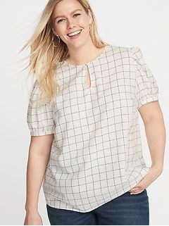 9506d68b492 Patterned Twill Plus-Size Puff-Sleeve Blouse