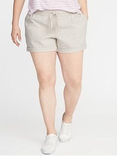 8d824a1b1 Mid-Rise Tie-Waist Plus-Size Linen-Blend Shorts - 5-