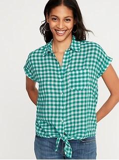 80b075f5d05 Patterned Tie-Hem Linen-Blend Shirt for Women