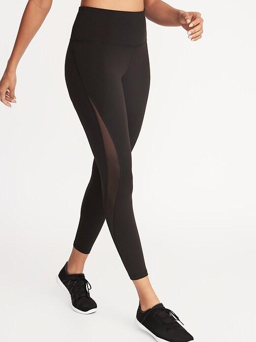 Pantalon de compression mi-long à taille haute avec  épissure en maille pour femme